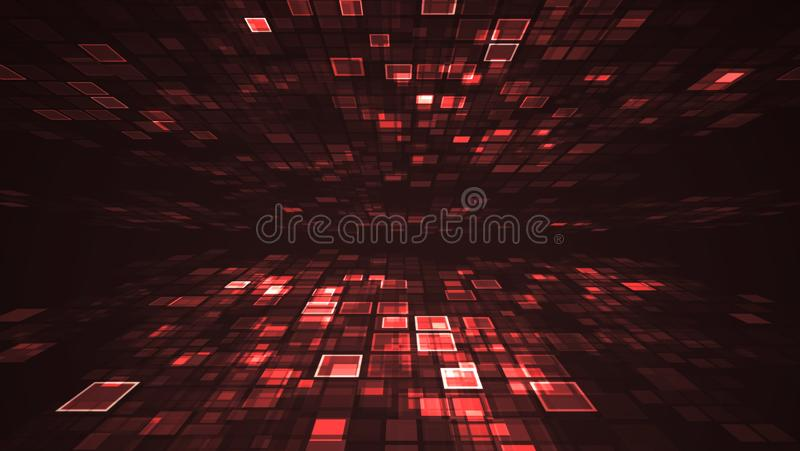 Conceito futurista de piscamento abstrato da tecnologia de Digitas da luz vermelha ilustração royalty free