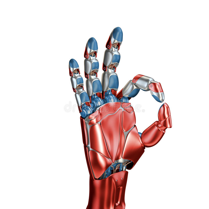 Conceito futurista de um cromo robótico do resíduo metálico do braço mecânico cor Vermelho-azul Molde isolado no fundo branco foto de stock