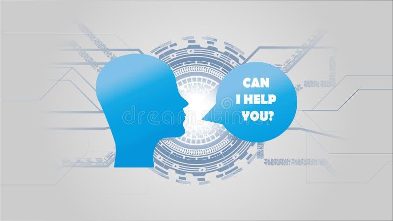 Conceito futurista do AI da inteligência artificial Conceito do auxílio da inteligência artificial Visualização grande humano dos ilustração stock