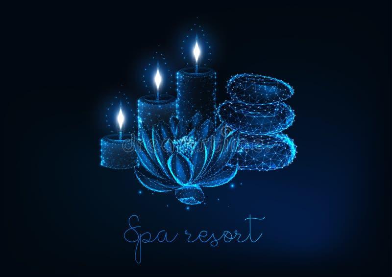 Conceito futurista do spa resort com a baixa flor de lótus poli de incandescência, velas aromáticas e pedras do zen ilustração royalty free