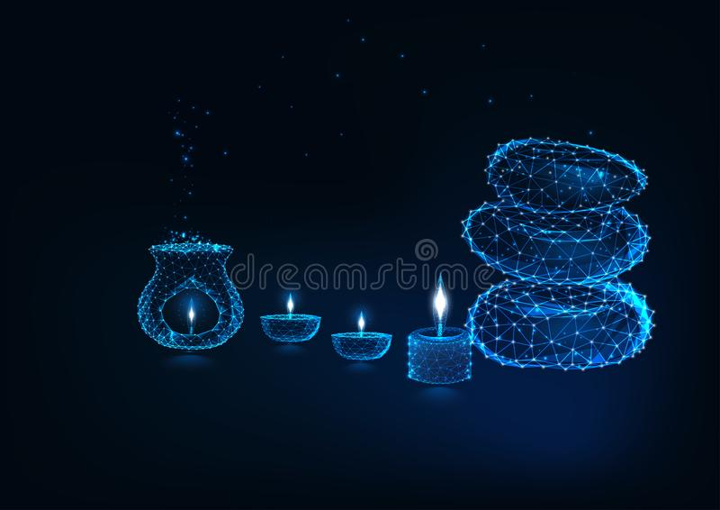 Conceito futurista do spa resort com lam da aromaterapia, lâmpadas de óleo, velas e pedras do zen ilustração royalty free