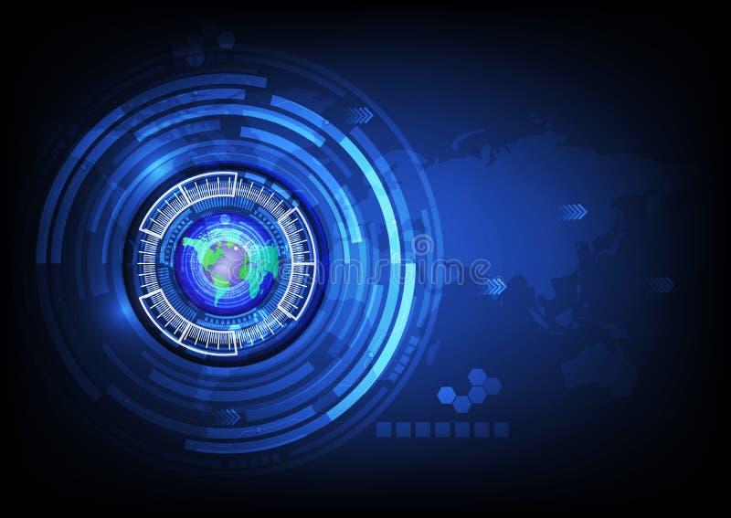 Conceito futuro da tecnologia do cyber do sumário da bola dos olhos azuis do mapa do mundo ilustração do vetor