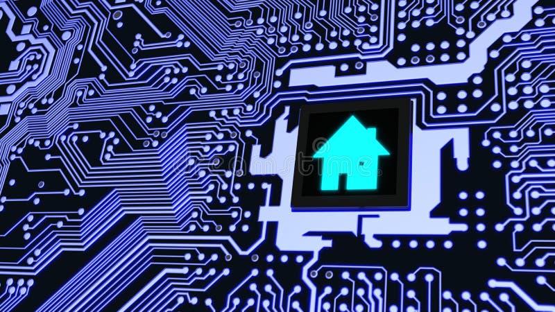 Conceito futuro home esperto da casa da placa de circuito ilustração stock