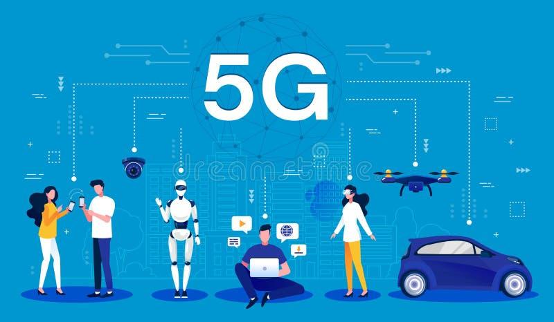 conceito 5G Desenhos animados infographic de uma rede wireless 5G usando a tecnologia sem fios móvel para a conectividade mais rá ilustração do vetor