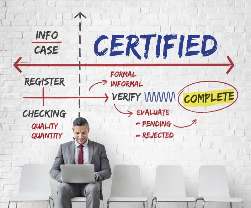 Conceito garantido certificado autorizado afirmado imagens de stock