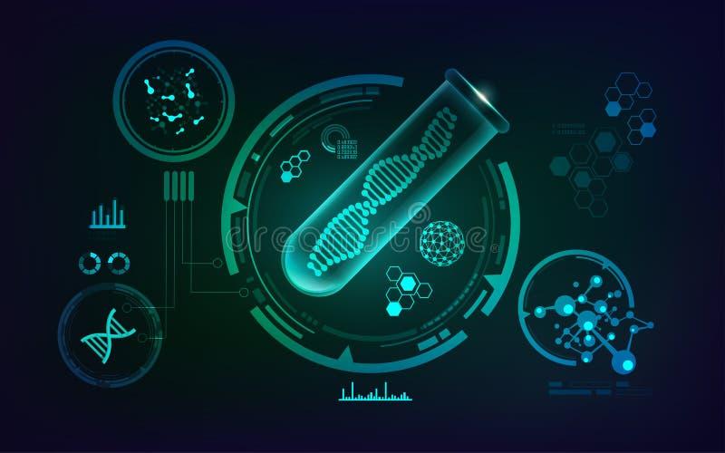 Conceito genético do ADN isolado no fundo branco ilustração stock