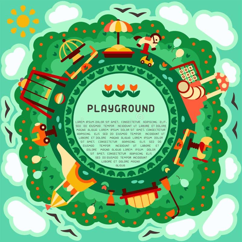 Conceito geométrico redondo do campo de jogos das crianças com elementos do jogo e texto da amostra ilustração do vetor