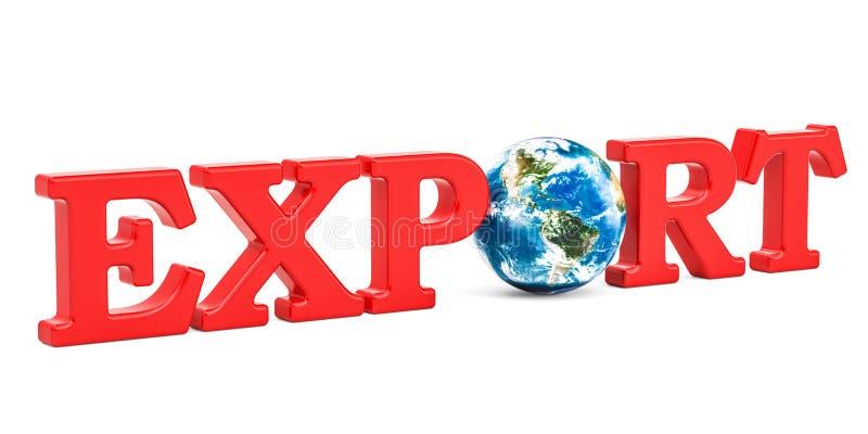 Conceito global da exportação, inscrição vermelha com globo da terra 3d arrancam ilustração do vetor