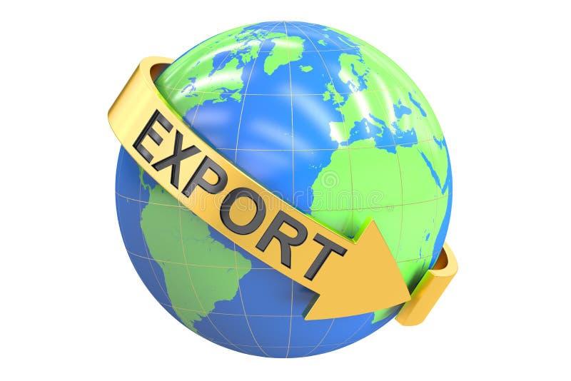 Conceito global da exportação, rendição 3D ilustração stock