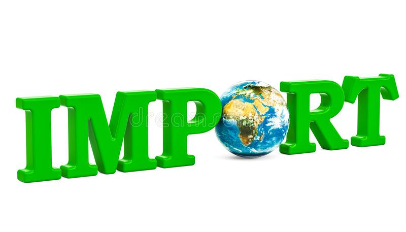 Conceito global da importação, inscrição verde com globo da terra 3d com referência a ilustração do vetor