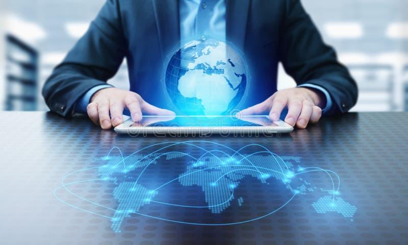 Conceito global de Techology do Internet da rede do negócio da conexão de uma comunicação do mundo foto de stock