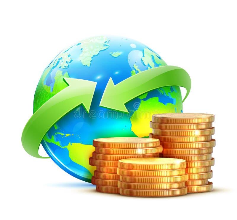 Conceito global de transferência de dinheiro ilustração do vetor