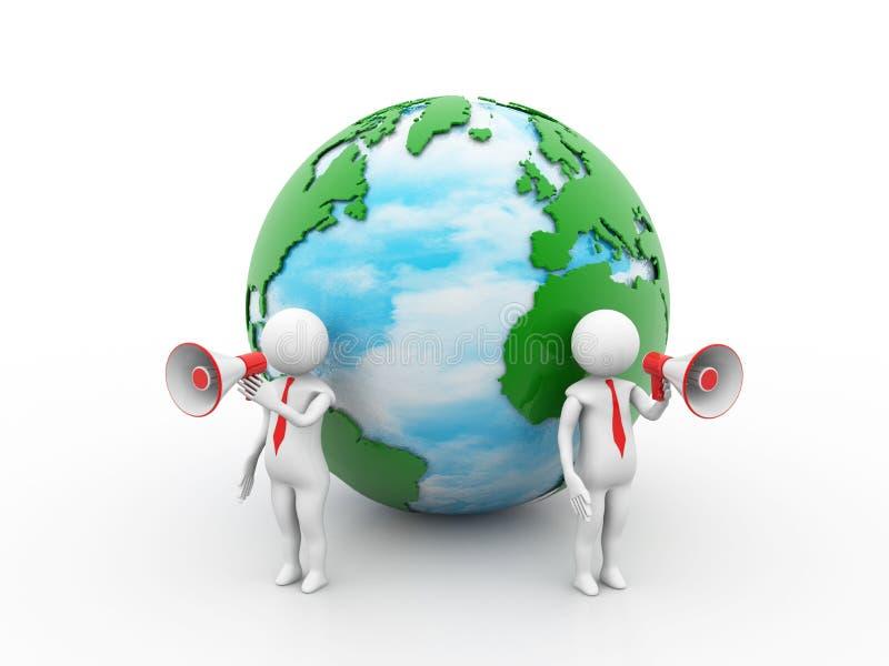 Conceito global do anúncio 3d rendem ilustração do vetor