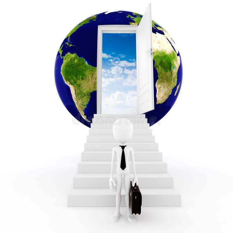 conceito global do businee do homem 3d ilustração do vetor