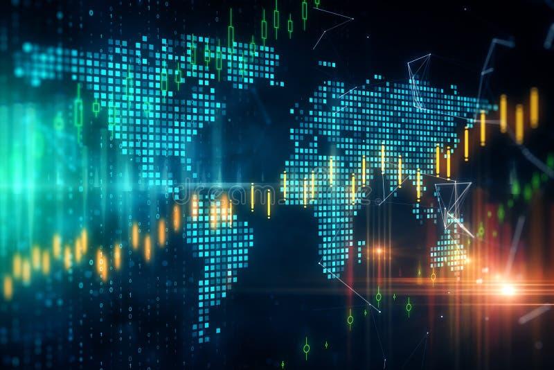 Conceito global do comércio e da finança ilustração stock