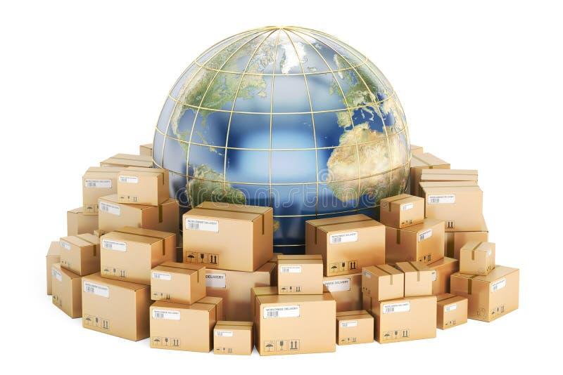 Conceito global do transporte e da entrega, wi das caixas de cartão dos pacotes ilustração stock