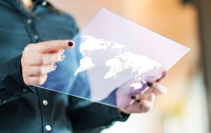 Conceito global e internacional moderno da tecnologia do negócio fotografia de stock