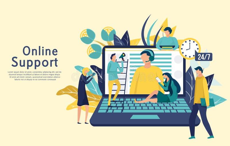 Conceito global em linha do suporte laboral Serviço ao cliente, operador da linha de apoio ao cliente ilustração stock