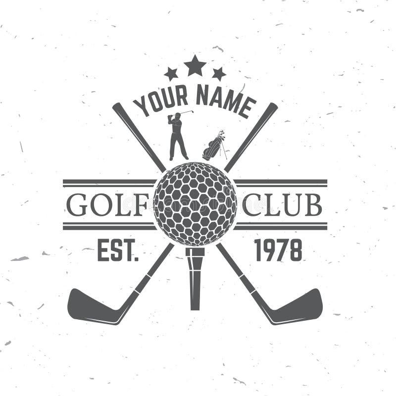 Conceito Golfing do clube com silhueta da bola de golfe ilustração stock