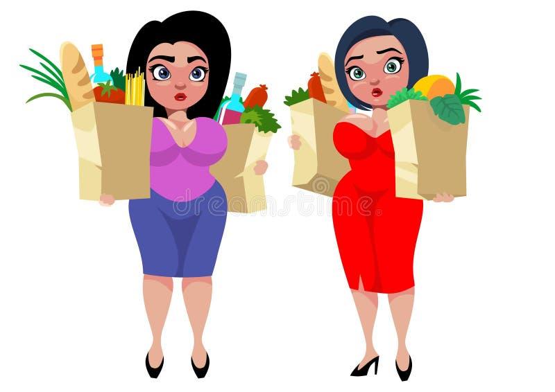 Conceito gordo das mulheres dos desenhos animados coloridos ilustração stock