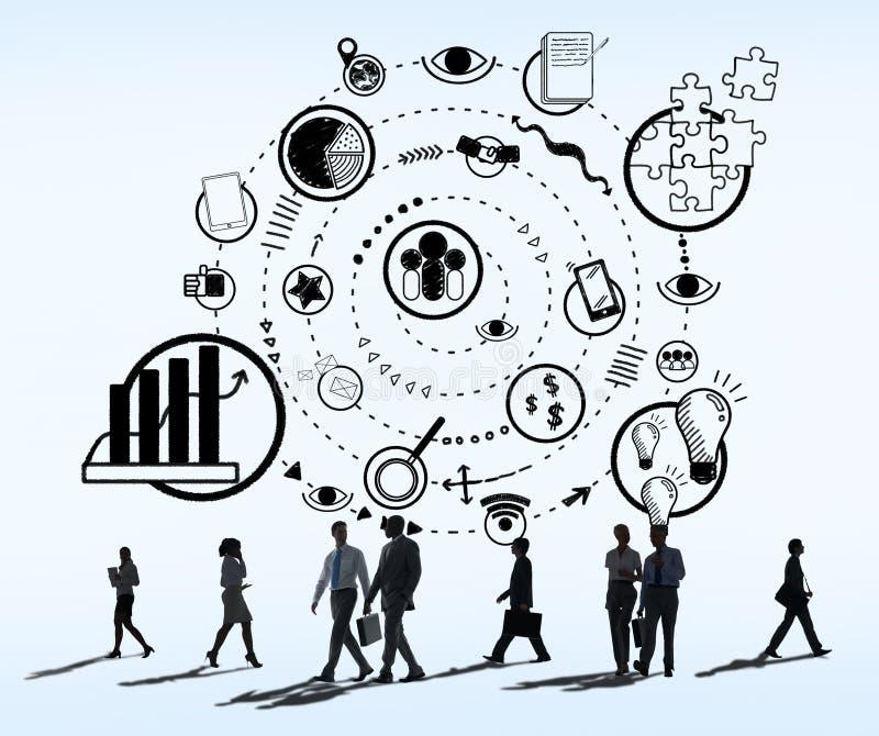 Conceito gráfico da garatuja do esboço dos ícones do mercado do negócio ilustração royalty free