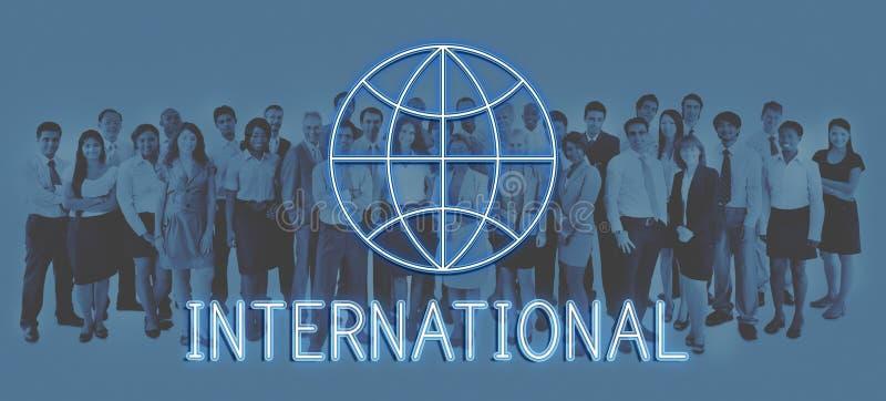 Conceito gráfico do ícone do mercado global do mundo empresarial imagens de stock royalty free
