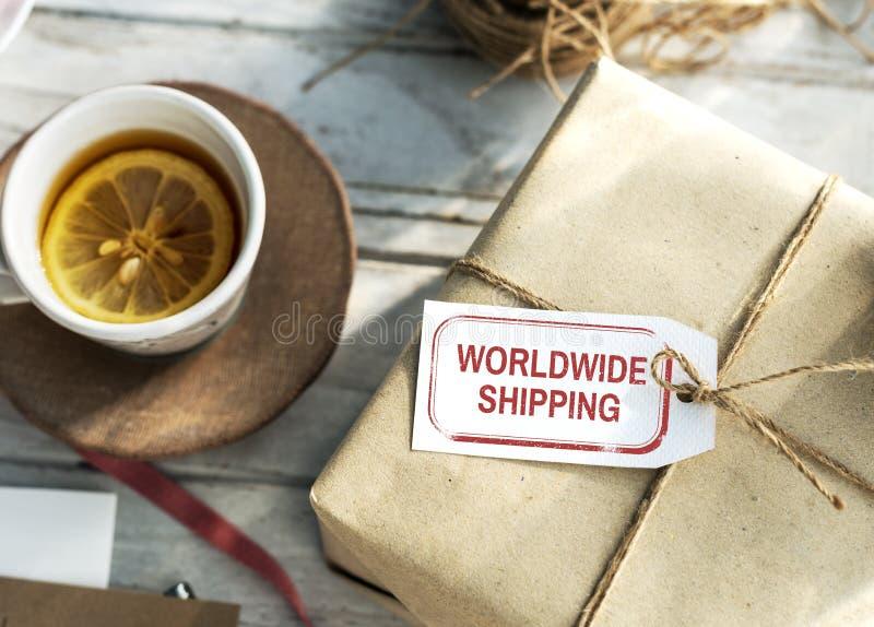 Conceito gráfico expresso da entrega mundial do transporte imagem de stock