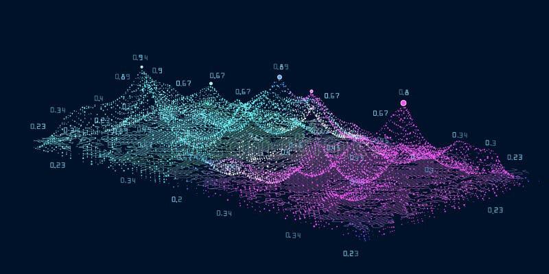 Conceito grande abstrato dos dados Complexidade futurista do projeto do infographics 3D Analítica visual social da informação da  ilustração royalty free