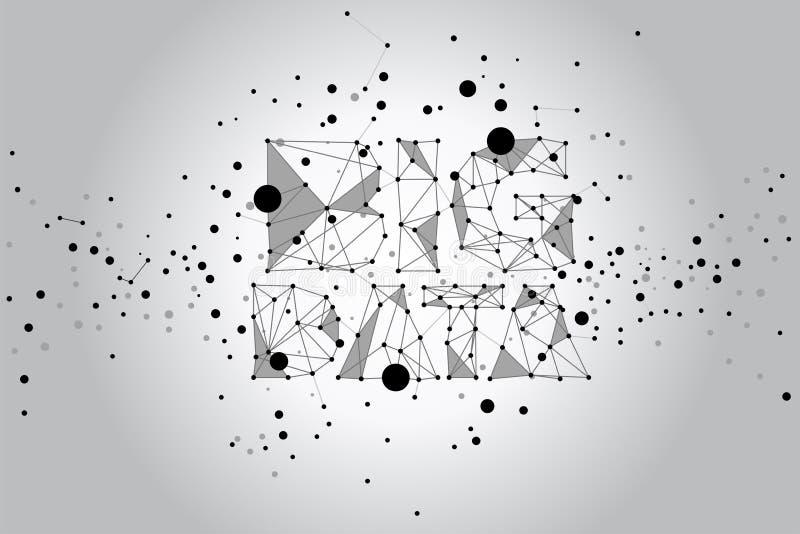 Conceito grande conectado ponto dos dados do polígono ilustração do vetor
