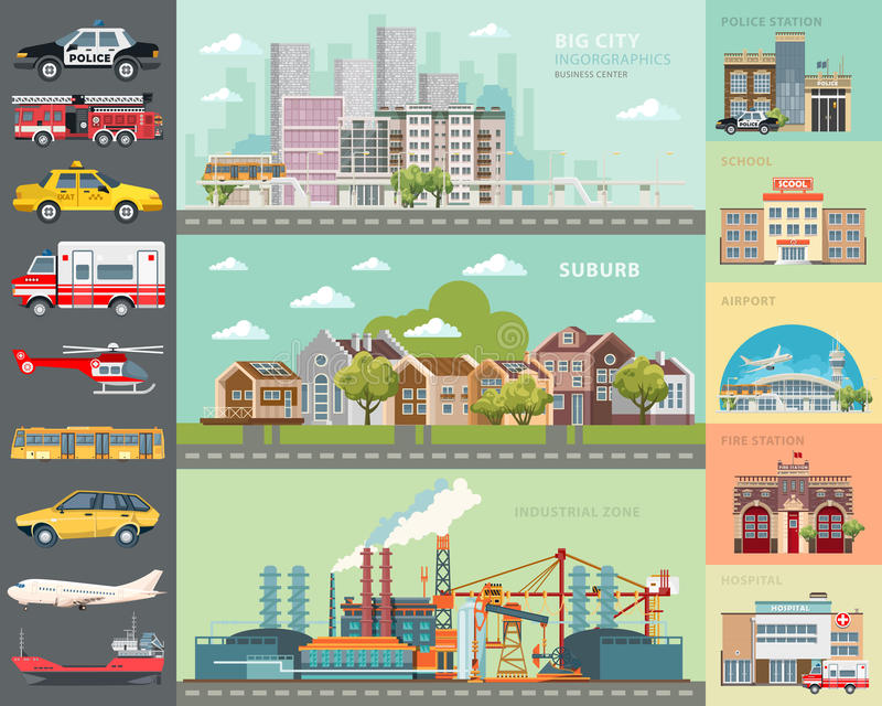 Conceito grande da cidade Jogo dos carros A infraestrutura ajustou-se com café, escola, aeroporto, quartel dos bombeiros e arquit ilustração stock