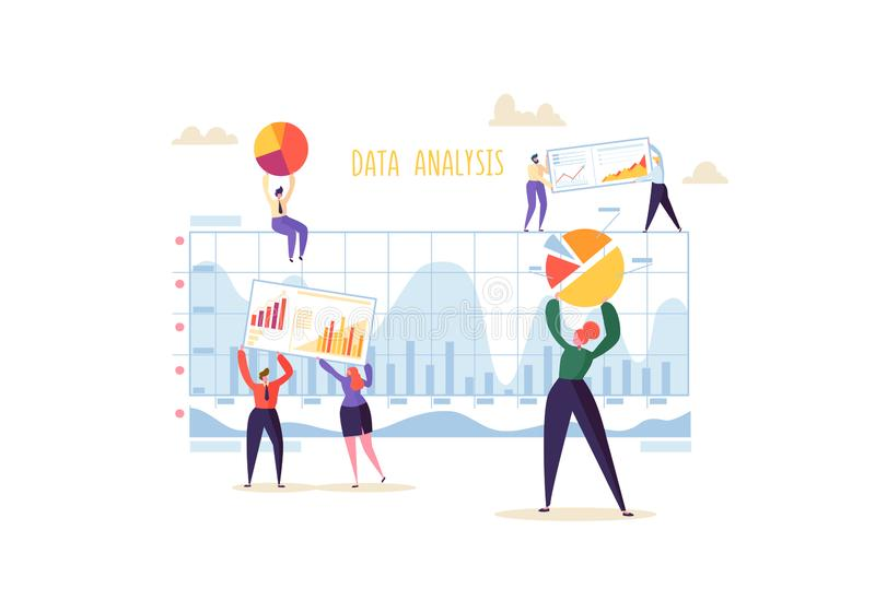 Conceito grande da estratégia de análise de dados Analítica do mercado com executivos dos caráteres que trabalham junto com diagr ilustração royalty free