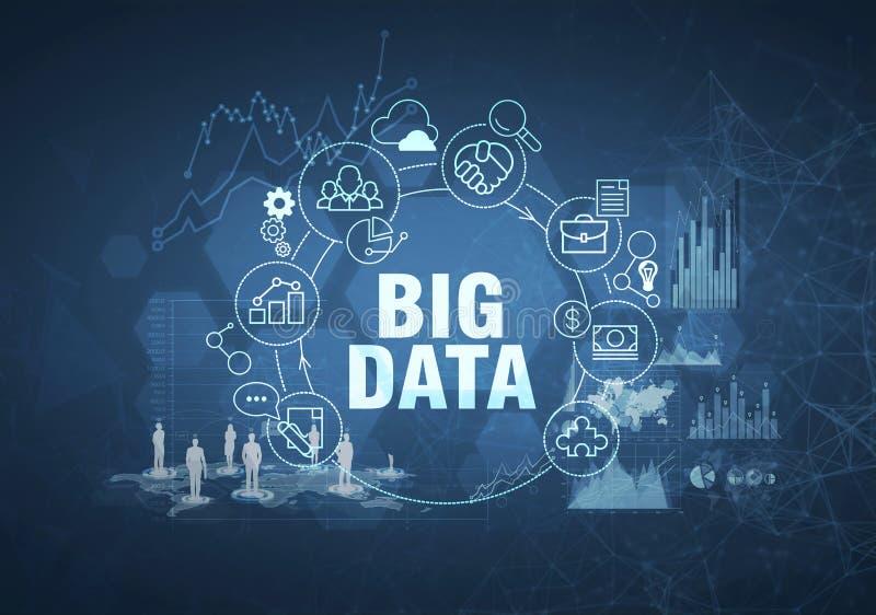 Conceito grande dos dados, obscuridade - fundo azul ilustração do vetor