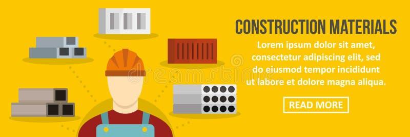 Conceito horizontal da bandeira dos materiais de construção ilustração stock