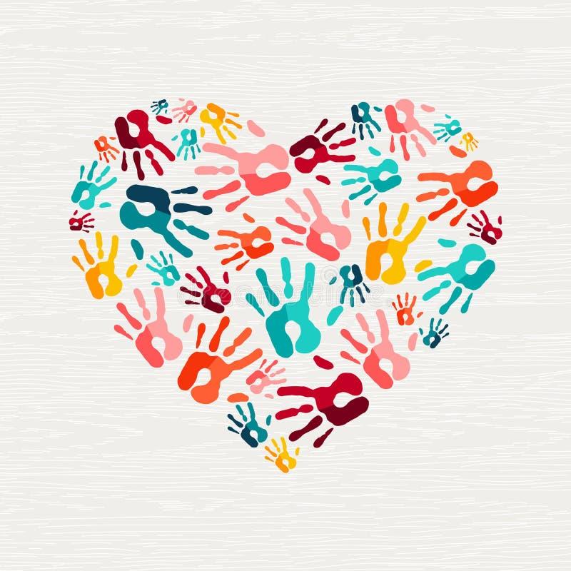 Conceito humano do amor da forma do coração da cópia da mão ilustração royalty free