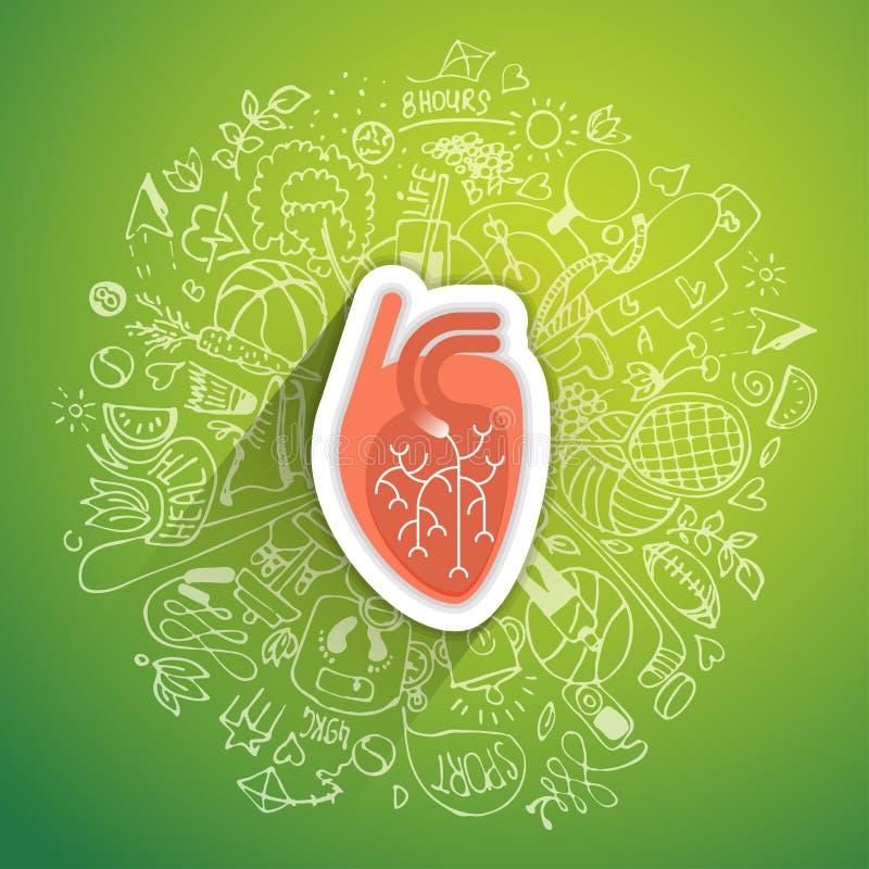 Conceito humano do coração sobre o estilo de vida e a longevidade saudáveis com elementos esboçados ilustração stock