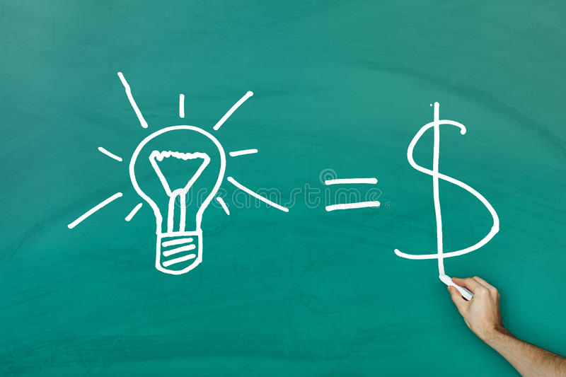 Conceito igual do dinheiro das ideias ilustração royalty free