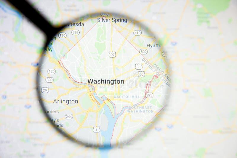 Conceito ilustrativo do visualização da cidade de Washington na tela de exposição através da lupa foto de stock