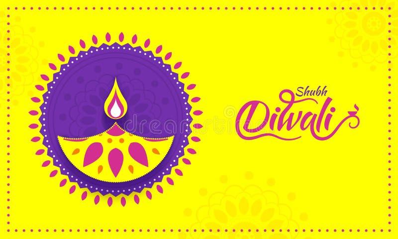 Conceito indiano da celebração do festival, cartaz amarelo ou DES da bandeira ilustração do vetor