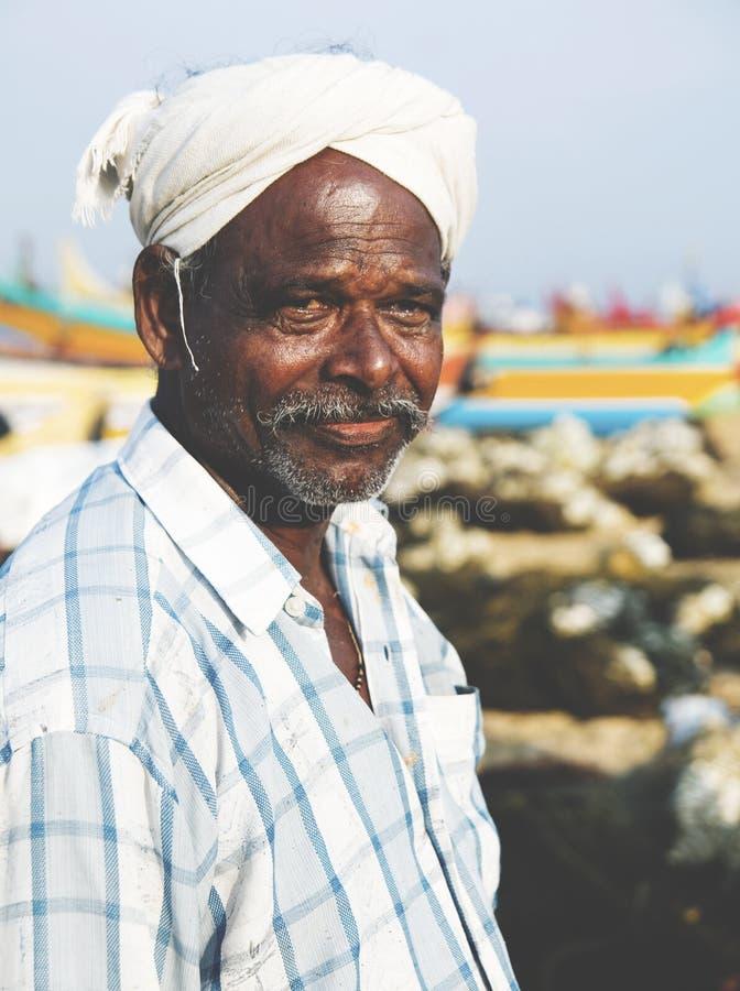 Conceito indiano de Kerela India Tranquil do pescador fotos de stock