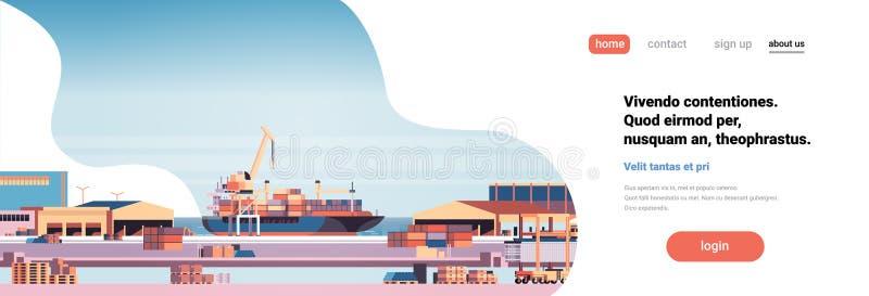 Conceito industrial do transporte da entrega da água do guindaste do navio do frete da exportação da importação do recipiente da  ilustração stock