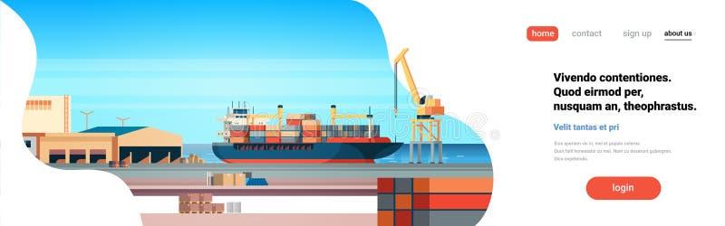 Conceito industrial do transporte da entrega da água do guindaste do navio do frete da exportação da importação do recipiente da  ilustração royalty free