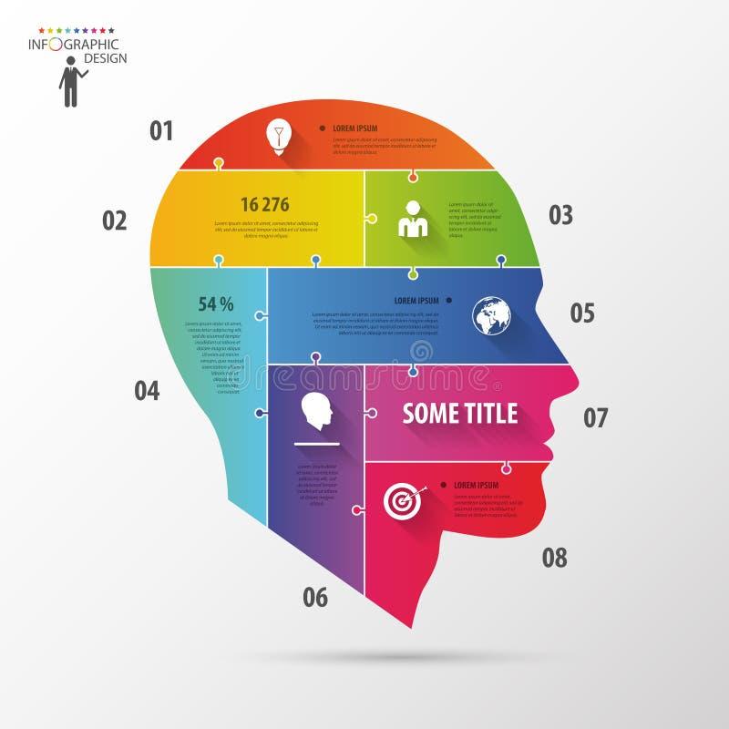 Conceito infographic colorido com cabeça Molde do negócio ilustração do vetor
