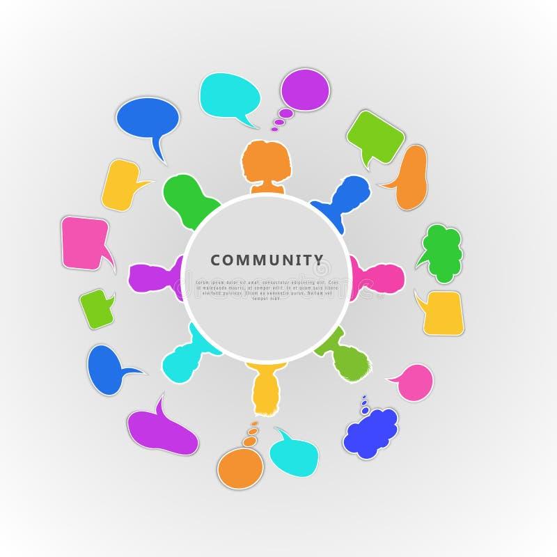 Conceito infographic da comunidade Projeto para a equipe do negócio, uma comunicação da bandeira através da rede social ilustração royalty free