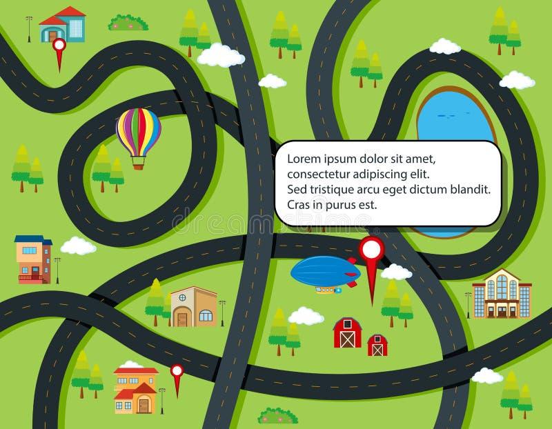 Conceito infographic da estrada e do mapa ilustração do vetor