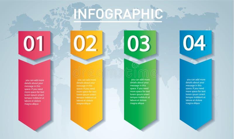 Conceito infographic da seta Vector o molde com 4 opções, peças, fases, botões Pode ser usado para a Web, diagrama, gráfico, pres ilustração do vetor
