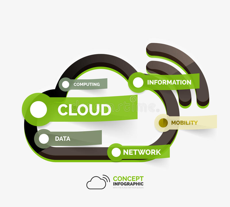 Conceito infographic do ícone do armazenamento da nuvem do vetor ilustração royalty free