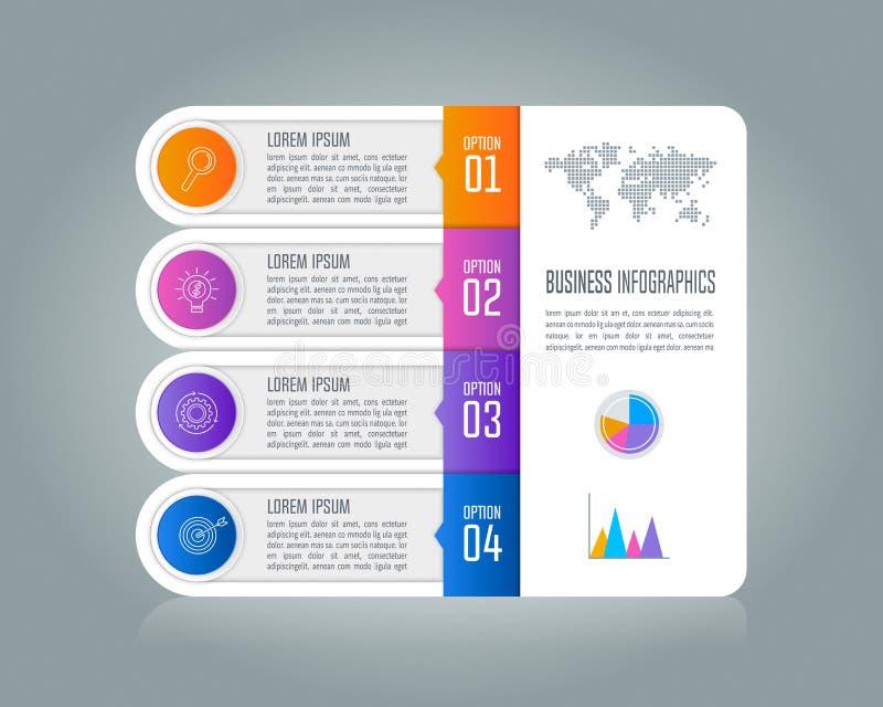 Conceito infographic do negócio do espaço temporal com 4 opções ilustração royalty free