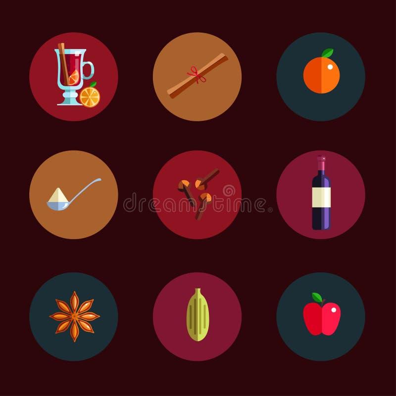 Conceito infographic do vinho ferventado com especiarias Ícones quentes da bebida da estação do inverno Vetor ilustração stock