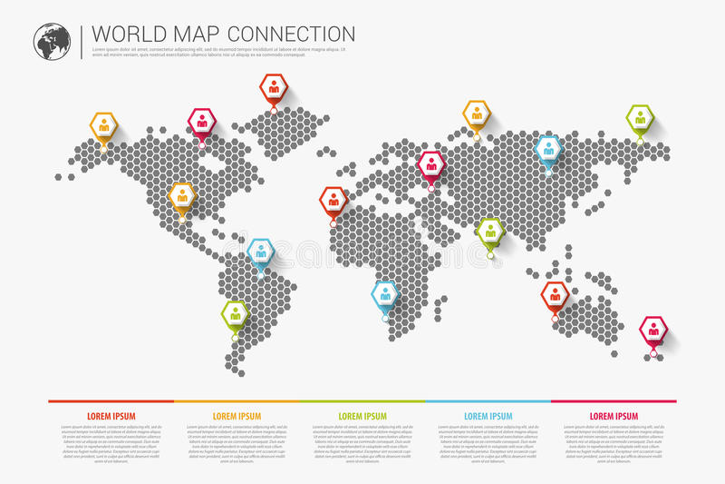 Conceito infographic moderno colorido da conexão do mapa do mundo Vetor ilustração do vetor