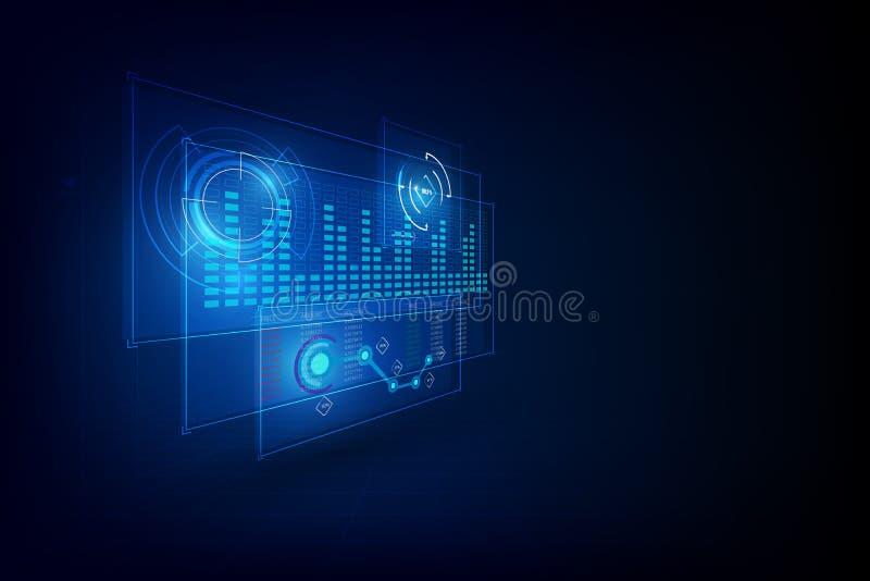 Conceito inovativo do cyber do molde do ui da relação de Hud Projeto holográfico de 3d UI, ilustração técnica ilustração royalty free